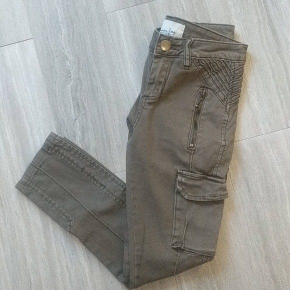 Green Army Skinny Cropped Pants